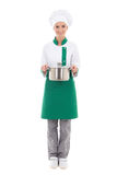 Young woman in chef uniform holding saucepan - full length isola Royalty Free Stock Images