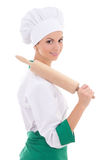 Young woman in chef uniform with wooden baking rolling pin isola Stock Images