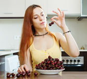 Young woman with cherries Royalty Free Stock Photo