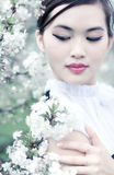 Young woman with cherry flowers Royalty Free Stock Photos