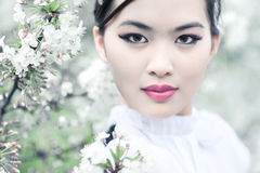 Young woman with cherry flowers Stock Photos