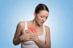 Young woman with chest breast pain colored in red Royalty Free Stock Images