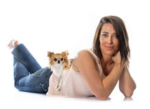 Young woman and chihuahua Royalty Free Stock Photo