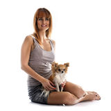 Young woman and chihuahua Stock Photos