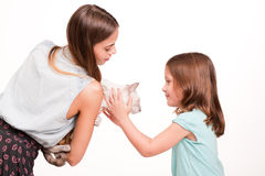 Young woman and child with cat. Stock Photography