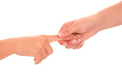 Young woman and children girl handshake isolated Stock Photos