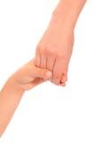 Young woman and children girl handshake isolated Stock Image