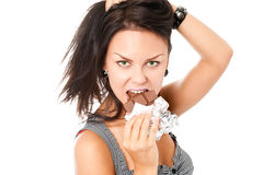 Young woman with chocolate Stock Photos