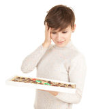 Young woman with chocolates Royalty Free Stock Photos