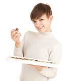 Young woman with chocolates Stock Image