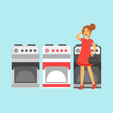 Young woman choosing an electric stove in home appliance store colorful vector Illustration Stock Photography