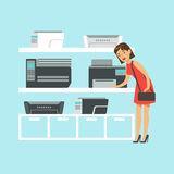 Young woman choosing MFP printer at appliance store colorful vector Illustration Stock Photo