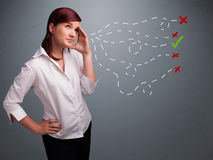 Young woman choosing between right and wrong signs Stock Images
