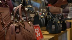 Young woman choosing synthetic leather bag in fashion clothing and accessories shop. Customer girl buying handbag on