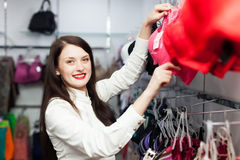 Young woman choosing underwear Stock Image