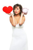 Young woman chosing between love and money Royalty Free Stock Image
