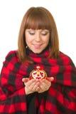 Young woman with Christmas ball Stock Photo