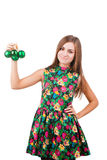 Young woman with christmas ball Royalty Free Stock Photos