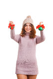 Young woman with christmas ball Stock Images