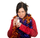 Young woman in Christmas chains Stock Images