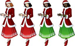 Young woman in Christmas costume with long skirt 4 Royalty Free Stock Photo