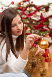 Young woman with Christmas decoration Royalty Free Stock Photos