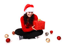 Young woman with christmas gift. Isolated on white background Royalty Free Stock Photos
