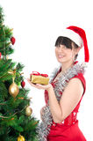 Young woman with christmas gift Royalty Free Stock Images