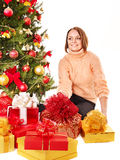 Young woman with Christmas gift box. Royalty Free Stock Photos