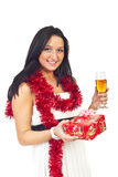 Young woman at Christmas party stock image