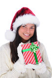 Young Woman with Christmas Present Royalty Free Stock Image