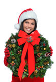 Young Woman with Christmas Present Royalty Free Stock Photography