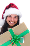 Young Woman with Christmas Present Royalty Free Stock Photo