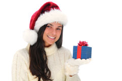 Young Woman with Christmas Present Royalty Free Stock Photos