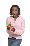 Young woman with Christmas present royalty free stock images