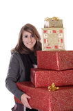 Young woman with christmas presents Royalty Free Stock Image