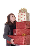 Young woman with christmas presents Stock Photography