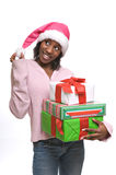 Young woman with Christmas presents royalty free stock photos