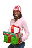Young woman with Christmas presents stock image