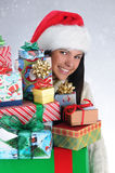 Young Woman with Christmas Presents Stock Photos