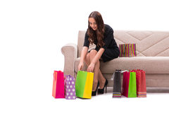 The young woman after christmas shopping Royalty Free Stock Photos