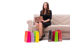 The young woman after christmas shopping Stock Photography