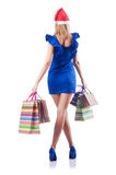 Young woman - christmas shopping concept. Young woman in christmas shopping concept Royalty Free Stock Images
