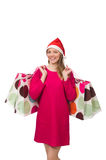 The young woman in christmas shopping concept. Young woman in christmas shopping concept Royalty Free Stock Images