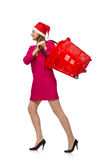Young woman in christmas shopping concept Royalty Free Stock Photos