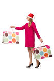 Young woman in christmas shopping concept. The young woman in christmas shopping concept Royalty Free Stock Images
