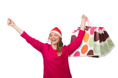 Young woman in christmas shopping concept Stock Photography