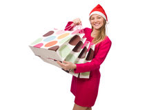 Young woman in christmas shopping concept. The young woman in christmas shopping concept Royalty Free Stock Image