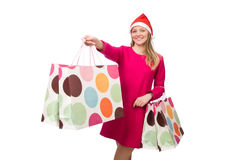 Young woman in christmas shopping concept Stock Images