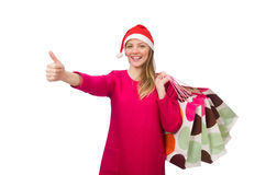 The young woman in christmas shopping concept Stock Image